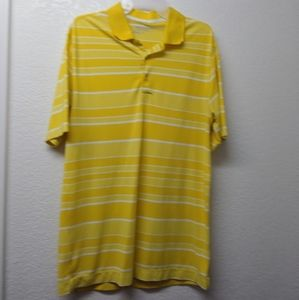 Nike Golf Polo Bright Yellow and White Stripes